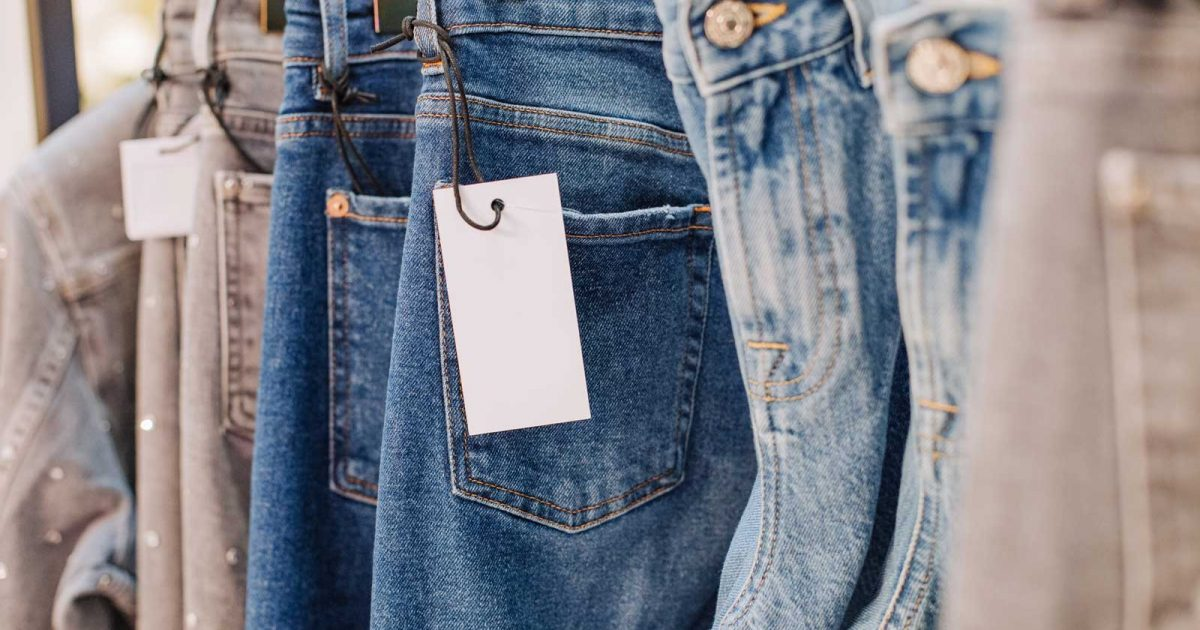 cotton denim jeans in a retail store